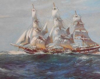 Nautical Art, Vintage 1940s Clipper Ship, Sailing Ship Duntrune, wall art, nautical decor