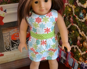 18 inch Doll Clothes - Christmas Dress - Colorful Snowflake Party Dress - RED WHITE GREEN - fits American Girl