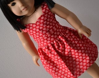 18 inch Doll Clothes - Pretty Hearts Sweetheart Dress - PINK RED - Pretty Dress - Valentine's Day - Love - fits American Girl