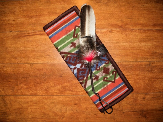 Wool Feather Holder / Feather Case Dark Brown Large