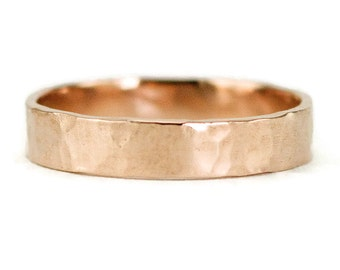 14k Rose Gold Wedding Ring - Unisex 4mm by 1.25mm Classic Flat Wedding Band - Hammered or Smooth