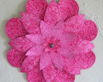 Metal flower kitchen wall art sculpture kitchen wall decor hand painted hot pink  bathroom wall decor Dahlia Mum 13  inch