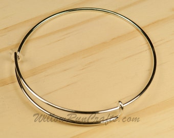 Set of 5 Expandable Bracelets Bangles in Silver (07-10-440)