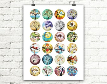 Tree of Life Love Birds Digital Collage Sheet Instant Download, Round Images Printables for Earrings, Bracelets, Pendants 24 images 1.5x1.5