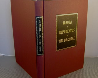 Vintage 1968 Medea, Hippolytus & The Bacchae by Euripides, Heritage Press with Slipcase and Sandglass, Classic Book