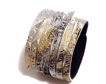 40% OFF Metallic color leather cuff bracelet. Fashion bracelet. Leather jewelry