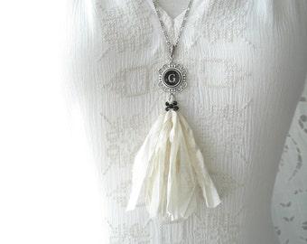 Typewriter Key Necklace. Letter G Necklace. Vintage Typewriter Key Jewelry. Long Sari Silk Tassel Boho Beaded Necklace. Eco Friendly Gift.