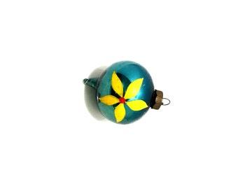 Vintage Christmas Ornament, Vintage Ornament, Mercury Glass Ornament, Christmas Decor, Yellow Daisy, Blue Bulb, Flower Ornament