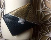 70's Vintage Bag - black and gold evening bag - metal mesh bag - cross body bag - 80s geometric bag - studio 54 - disco - mixed metal purse