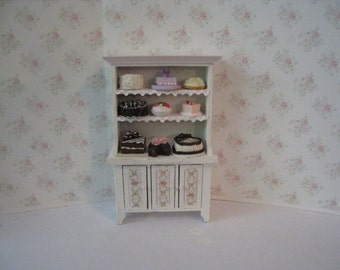Dollhouse Kitchen Hutch, small hutch, Cake filled dresser, dollhouse dresser,  Dresser, twelfth scale, dollhouse miniature