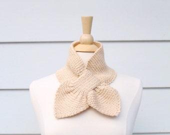 Light beige scarf, knit keyhole scarf, light tan scarflette, unique knit scarf, beige knit ascot, tan ascot scarf, knit neckwarmer