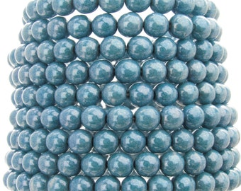6mm Opaque Blue Luster Czech Glass Round Beads - Qty 30 (AW28)