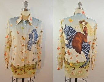 Vintage Ladies ZEBRA and BUTTERFLIES Blouse 1970s Polyester Woman Riding on a Zebra Size 13/14