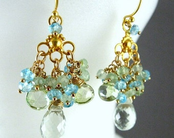 BIGGEST SALE EVER Green Chandelier Earrings, Green Amethyst,  Prehnite, Apatite Gold Plated Earrings