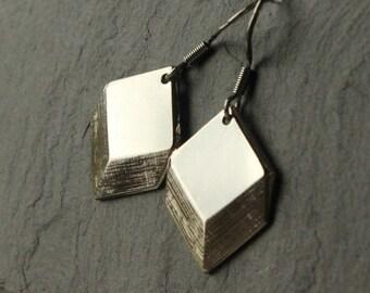 Art deco earrings, minimalist earrings, silver deco earrings, choose hooks or clip earrings, geometric, lightweight Art Deco Jewelry E444