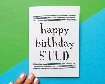funny card happy birthday stud birthday card for men rustic manly dudes romantic card for husband dad brother
