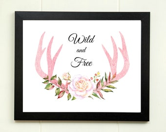 Tribal Nursery Printable, Wild and Free Print, Boho Nursery, Baby Girl Nursery Wall Art, Deer Antler Print, Kid Room Decor, Instant Download