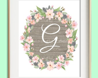 Letter G Printable, Instant Download, Baby Girl Nursery Wall Art, Girl Nursery Decor, Floral Monogram, Pink Mint Gray Letter Art, Baby Gift