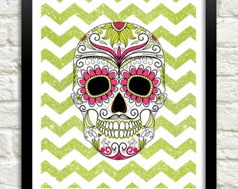 Skull Art Print, 8x10 Instant Download, Sugar Skull Art, Day of the Dead, Dia De Los Muertos, Pink Green Skull, Dorm Decor, Skull Poster