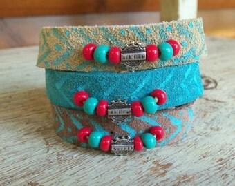 Tribal Suede Bracelet, Boho Bracelet, Bohemian Bracelet, Cream Cuff Bracelet, Bohemian Jewelry, Cool Leather Bracelet, Ethnic Jewelry