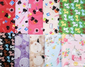Scrap / Japanese Fabric - Cute Cats 10 pieces (817)