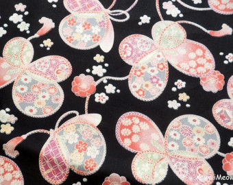 Japanese Kimono Fabric - Sakura Ribbon Butterfly on Black - Half Yard (ki151221)