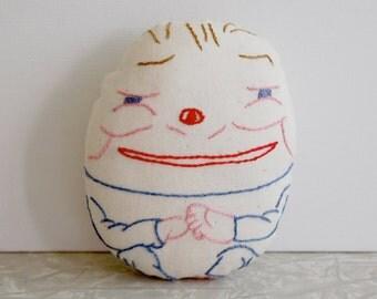 humpty dumpty pincushion, embroidered pincushion, handmade pincushion, nursery rhyme character, sewing tool, sewing supply, ooak