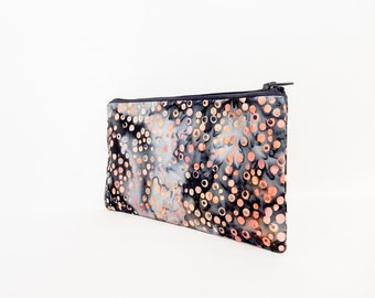 Zipper Pouch, Batik Pouch, Small Pouch, Card Wallet, Change Pouch, Cute Coin Purse, Pouch, Fabric Pouch, Grey and Black Batik with Circles