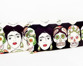Frida Kahlo Pouch, Zipper Pouch, Pencil Pouch, Fabric Pouch, Fabric Case, Zipper Case, Frida Kahlo Day of the Dead in Black or Off White