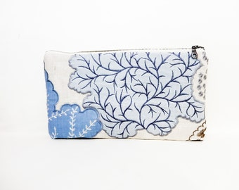 Clutch, Fabric Zipper Pouch, Zipper Pouch, Pouch, Blue Pouch, Cosmetic Bag, Large Zipper Case, Pencil Pouch, Embroidered Clutch, Case