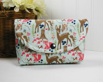 Snap Pouch, Large Snap Pouch, Cosmetic Pouch ... Woodland Spring in Aqua