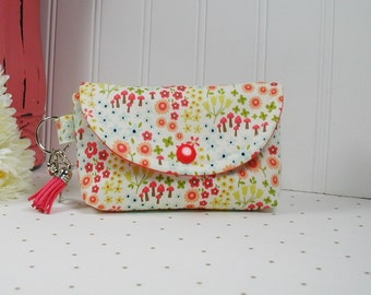 Small Snap Pouch with Clip and Tassel Charm, Pouch with Tassel... Woodland Petal in Cream