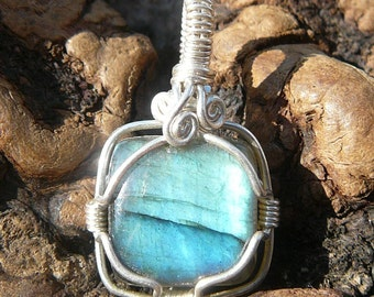 Small Labradorite and Sterling Silver Wire Wrapped Pendant ~ Natural Stone Jewelry, Healing Stone, Handcrafted, Mystical, Faerie, Earthy