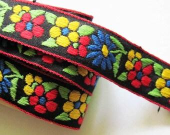 Flower Embroidered Ribbon Trim 6 yds
