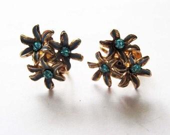 Vintage Rhinestone Blue Flower  Earrings