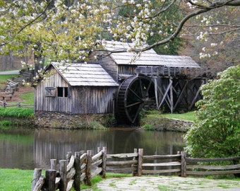 Spring Photo 11x14 Mabry Mill on the Blue Ridge Parkway Virginia Wall Art Home Decor Print