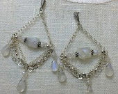 VALENTINES SALE Moonstone Chandelier Earrings Sterling Silver Chain Chandelier Earrings Wire Wrap Moonstone Wedding Triple Chain Swag Earrin