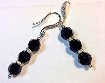 50% OFF SALE Black Crystal Earrings Sterling Silver Swarovski Crystal Art Deco Style Dangle Earrings Evening Earrings