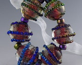 a set of 6 rounds in red and purple with dichro and silverglass handmade lampwork glass beads - Dark Fireworks