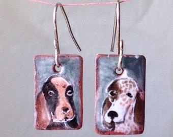Ticked Hound Handmade Majolica Glazed Ceramic Tile Earrings on Silver Drop Hooks