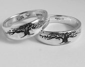 Tree of Life Band Set, Tapered, Sterling Wedding rings 4 to 12 Men's Women's harmony