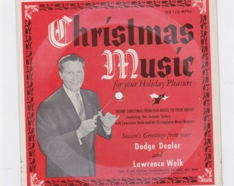 1958 Dodge dealer christmas music Laurence Welk with Lennen sisters 33-1/3 rpm card board record