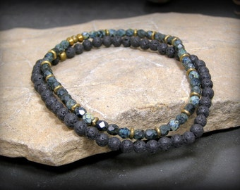 Bracelet for Men, Mens Bracelet Set, Black Bracelet Set, Mens Beaded Bracelet, Stack Bracelet, Mens Classy Bracelet, Minimalist Bracelets