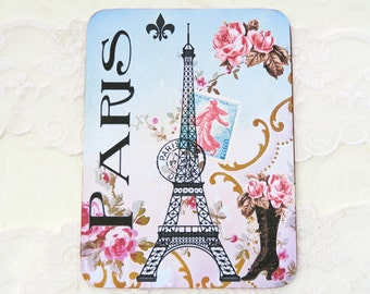 Note Cards Vintage ,Blank Note Card,  Paris Eiffel Tower, Birthday, Retro Vintage Black Boot,French Bridal Shower,Tea Party, Australia