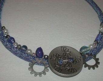 Ocean Blue Button Textile Necklace
