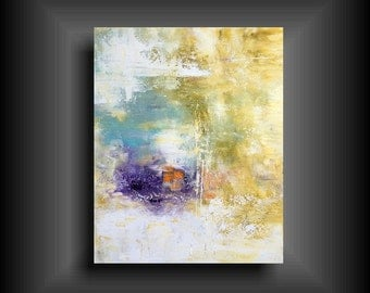 Large Abstract Painting on Gallery Stretched Canvas Modern Wall Art for Contemporary Home Yellow white purple orange 24 x 30