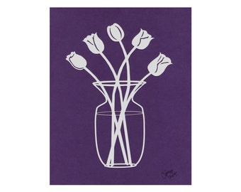 Lavender Tulips Silhouette Wall Art on Purple Paper Cut Art 8X10 Unframed
