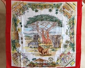 Gucci African Safari Silk Scarf DEADSTOCK 33'-33'
