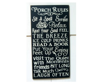 PORCH RULES primitive wood sign