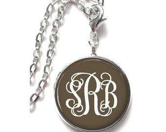 Brown Monogram Necklace, Monogram Jewelry, Personalized Jewelry, Mongram Gift, Monogram Accessories  (333)